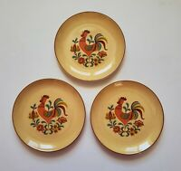 "Crowing Rooster Plates Set of Three (3) 6 1/2"" Decorative"