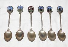 Nieuwpoort 90 Holland Dutch Costumes Souvenir Cloissone Silver Plated Spoons SIX