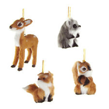 Plush Animal Christmas Ornaments, Natural, 4-Inch, 4-Piece