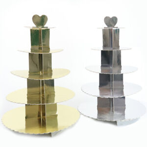 5 Tier Cupcake Stand Gold Silver Heart Platter Round Display Party