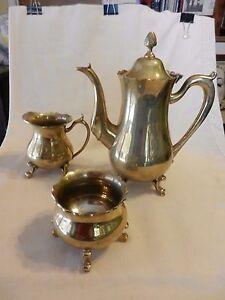 3 Piece Polished Brass Tea Set from India, Tea Pot, Sugar, Creamer