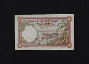 Belgian Congo 5 Francs 1924 P-8 VF Stanleyville