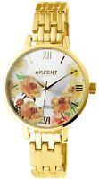 Akzent Damenuhr Silber Gold Blumen Analog Metall Quarz Armbanduhr X1800197001