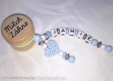 ☆ Süße Milchzahndose ☆ mit Wunsch - Namen ☆ blau ☆ Herz ☆ Geschenk zur Geburt ☆