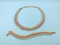 VTG 1950s ELOXAL Signed Western Germany lightweight Fishbone Collar necklace SET