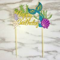 Starfish Mermaid Happy birthday Cake Toppers Cupcake Baby Shower DIY Gifts Pip