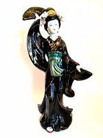 Asian Geisha Girl Figurine Tall Black Floral Kimono Signed Yong Long 16 inches