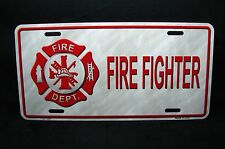 FIREFIGHTER METAL NOVELTY CAR LICENSE PLATE TAG FIRE DEPARTMENT FIRE RESCUE