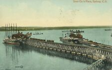 Sydney NS CB Nova Scotia ~ Steel Co.'s Piers Harbour c1911 Vintage Postcard