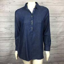 NWT ANN TAYLOR Women's Loft Blue Denim Crystal Embellishment Blouse Top S