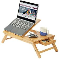 Folding laptop desk tablet table bed tray bamboo 50x35cm with cooling  FLOWERED
