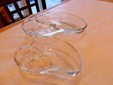 "HTF 2 PC FOSTORIA GLASS ""CONTOUR"" CLEAR LRG & SMALL DIVIDE SERVE DISHES 40'S"
