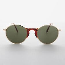 Round Hipster Keyhole Acetate Bridge Vintage Round Sunglasses Gold- ZIGGY