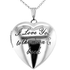 """I Love You To The Moon and Back Heart Shaped Photo Locket Pendant Necklace 19"""""""