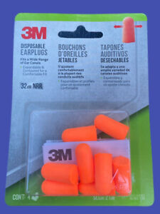 3M Disposable Earplugs 4Pairs SLC80 21dB NIB Expandable Contoured