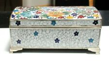 LARGE INABA FLORAL CLOISONNE WHITE ENAMEL MUSIC JEWELRY BOX SIGNED