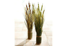 Kunstblume Gräserbusch groß Kunstpflanze braun & grün Grasarrangement 80 cm