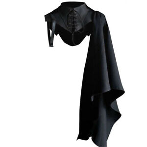 Unisex Medieval Cosplay Accessories Knight Gothic Cape Shawl Hooded Black Devil