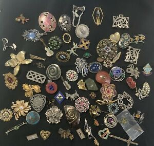 Vintage Costume Jewellery Brooches Cute Retro Bundle Job Lot Mixed Styles 70+ px