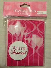 Fabulous Pink Cocktail Wine Girly Drink Birthday Party Supplies Invitations 8 ct