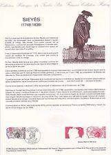 Document philatélique 07-89 1er jour 1989 Sieyes Personnage Historique