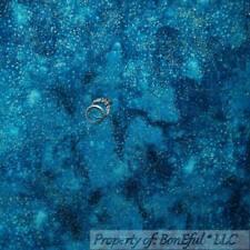 BonEful Fabric Cotton Quilt Teal Blue Gold Glitter Metallic Dot Night Sky SCRAP