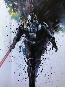 Darth Vader 20x14in  oil painting on canvas.Framing avail. Star Wars Jedi Sith
