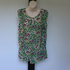 'SUSSAN' EC SIZE '16' FLORAL PRINT SHEER SLEEVELESS TOP WITH FRONT FRILL