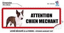 70x20 cm AUTOCOLLANT - ATTENTION CHIEN MECHANT -  STICKER PORTE PORTAIL FENETRE