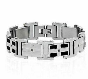 "Men's Polished Stainless Steel Carbon Fiber Genuine Black Diamonds  Bracelet 9 """
