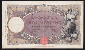 ITALY ------ 500  LIRE  1941 ------ F/VF ------