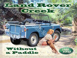 Land Rover Creek, Classic mk1 Off road 4x4 Pin Up Girl, 05 Medium Metal Tin Sign