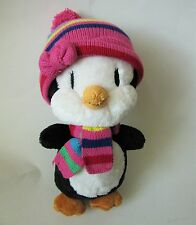 """The Childrens Place Penguin Girl Soft Black White Plush Pink Knit Hat Scarf 12"""""""
