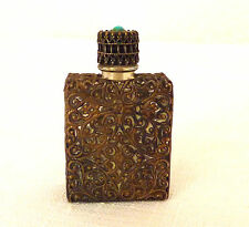 Vintage Brass,  Clear Glass Perfume Bottle with Dauber