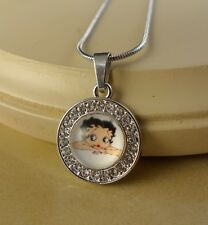 BETTY BOOP small crystal pendant w/necklace jewelry gifts for girls women