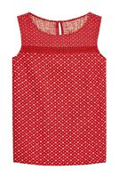 Next 10 - 20 Linen Blend Red Geo Floral Print Summer Holiday Vest Shell Top