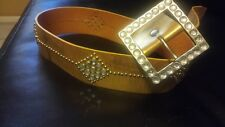 Bebe Gold Leather Belt w/ Lg Rhinestone& silver Bead Belt - Sz Small.