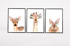 Set of 3 Woodland Animals Floral Watercolour Kids Room Wall Art Prints Nursery
