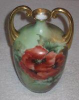 "Antique/Vintage Decorative Austrian China Vase Green Red Flowers Gold Trim - 8"""