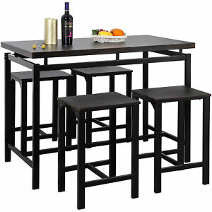 5 Piece Dining Table Set with 4 Chairs Wood Metal Kitchen Dining Furniture Set