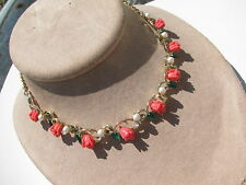 VINTAGE CELLULOID CORAL FULL ROSE FLOWERS ENAMEL LEAVES PEARLS COLLAR NECKLACE