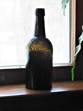 19th C. Whittled Dark Olive Black Glass Beer Ale Wine Bottle Embossed Crown