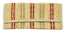 Womens Red Beige Straw Basket Woven Italy Large Clutch Purse Handbag
