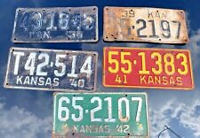 VINTAGE LOT OF KANSAS LICENSE PLATES 1938 1939 1940 1941 1942 FATHER'S DAY GIFT
