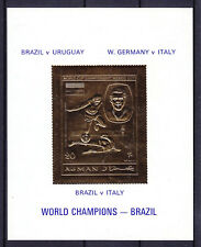 "FOOTBALL 1970 AJMAN, ""BRAZIL IS CHAMPIONS!"" GOLDEN BLOCK, Mi BL. 194"