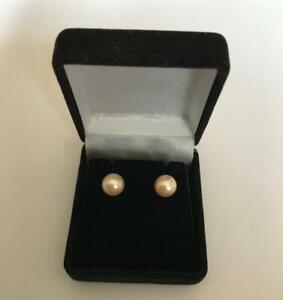 6mm peach blush cultured pearl wedding earrings silver findings in black box