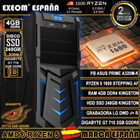 Ordenador Gaming Pc AMD Ryzen 5 1600AF 4GB HDD SSD 240GB GT710 2GB de Sobremesa