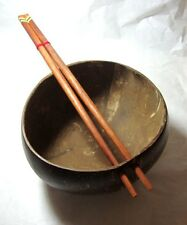 A NICELY  NATURE COCONUT SHELL WOOD FOOD RICE &NOODLE  PERFORATED WITH CHOPSTICK