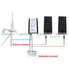 Daliy 2KW: Hybrid Solar Kit w/400W Wind Turbine Generator & 300W Solar Panel