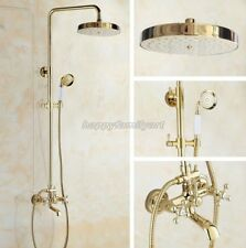 Gold Polished Brass Bathroom Mixer Rain Shower Double Heads Set Unit ygf355